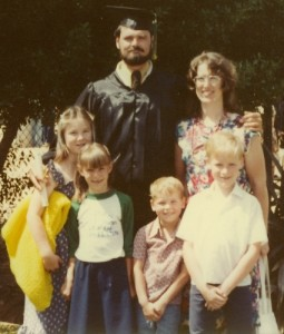 Our family at my dad's college graduation. We were approximately 10, 9, 8, and 5 here.